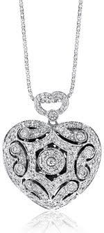 white gold hearts necklace images Vintage inspired diamond heart locket in 14k white gold 0 56ct jpg
