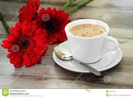 coffee and beautiful flowers stock photo image 54970127