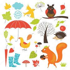 imagenes animadas de otoño conjunto de personajes de dibujos animados y elementos de otoño