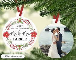 Personalized Wedding Christmas Ornaments First Christmas Couple Ornament Etsy