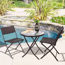 Woven Patio Chair Goplus 3pcs Wicker Rattan Outdoor Dinning Table Chair Set Patio