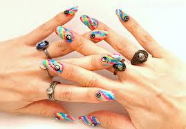 3d nails fake nails press on nails 90s grunge tie dye