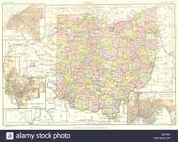 Ohio State Map by Ohio State Map Showing Counties Inset Cleveland Columbus Stock