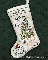 brittercup designs britty kitty christmas stocking cross stitch
