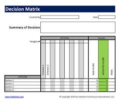 Decision Matrix Excel Template Decision Matrix Template Free Available Velaction