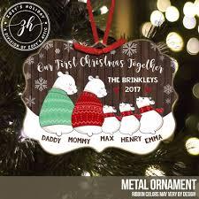 metal ornament five snow family ornament