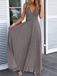 maxi dresses summer maxi dress in grey with v neck lyfie