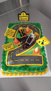 construction zone birthday cake for 2 year old excavator dump