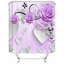 Purple Shower Curtain Sets - amazon com alicemall purple shower curtain 3d flower bathroom