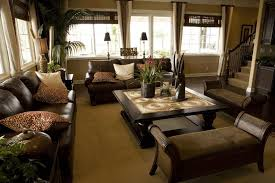 rooms with brown leather furniture black wooden table lamp beige