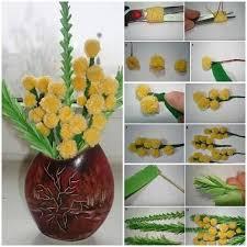 Yellow Pom Pom Flowers - diy pom pom flower bouquet cool creativity pinterest flower