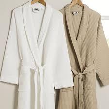 robe de chambre coton homme peignoir en coton éponge nid d abeille satin bambou