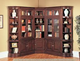 cherry wood corner bookcase bookshelf astonishing corner bookcase with doors appealing