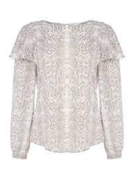 snake print blouse linea una ruffle shoulder blouse snake print bluewater 17 00