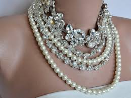 chunky necklace pearl images Bride necklace pearl bib necklace bold bridal pearl and rhinestone jpg