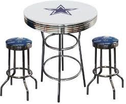 buy dallas cowboys logo glass top chrome bar pub table set with 4
