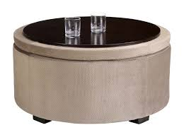 light brown upholstered round ottoman coffee table with storage
