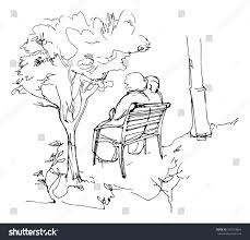 sketch two person sitting on bench stock vector 299718824