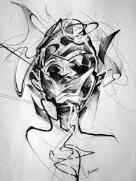 abstract face sketch a little biro marker and correction u2026 flickr