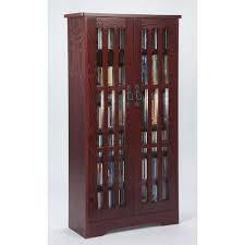 Oak Dvd Storage Cabinet Cherry Wood Dvd Media Storage Cabinet Bellacor