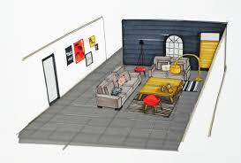 cuisine et salon dans la meme pi ce de vie moderne dans un petit appartement de ville cuisine et