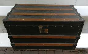 vintage wooden sea chest u2013 black with brown wooden slats and with