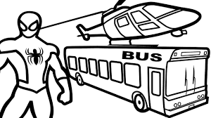helicopter on bus u0026 spiderman coloring pages for kids coloring
