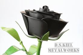 black flower metal stem black gift metal