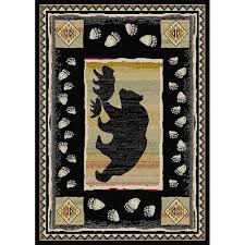 pine cone area rug bear tracks brown outdoor rug cabin place