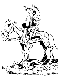 lucky luke sauntering with horse coloring pages for kids ghp