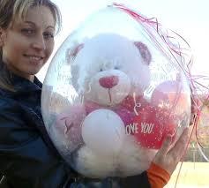 teddy bears inside balloons qualatex 18 balloon clear with no print