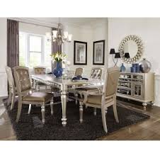 Silver Dining Table And Chairs Orsina Silver Dining Table For 499 94 Furnitureusa