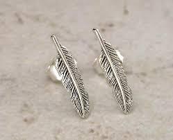 feather stud earrings pretty sterling silver indian feather stud earrings style st 44 ebay