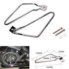 chrome saddle bag support bars mount bracket kit for harley
