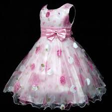 kid pink floral chiffon wedding party flower girls dresses age 2 3
