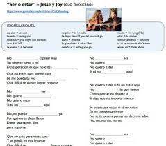 ser vs estar in music video song lyrics jesse y joy