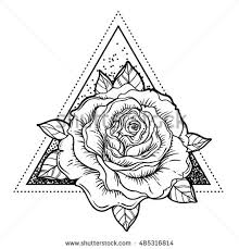 new school tattoo drawings black and white blackwork tattoo flash rose flower over stock vector 485316814