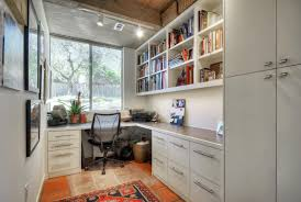 basement office design home office contemporary with tile floor
