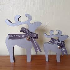 mdf reindeer set of two christmas decorations silver black gold
