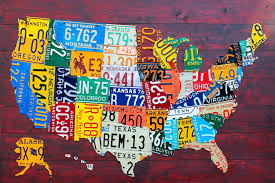us map framed usa recycled license plate map vii canvas wa design turnpike