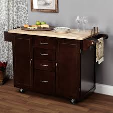 homegear open storage kitchen storage cart island with rubberwood
