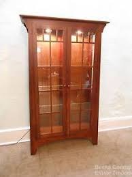 ethan allen solid cherry mission style lighted curio display china