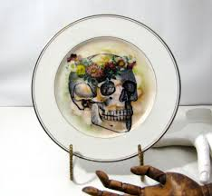 may queen skull plate altered vintage day of the dead home decor