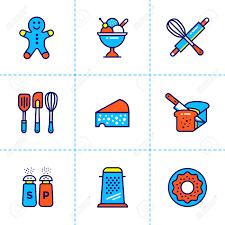 cuisine de qualit collection vectorielle d icônes de contour boulangerie cuisine