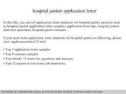 Sample Janitor Resume by Hospital Janitor Application Letter