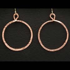 hammered hoops hammered hoops copper earrings tom s foolery chainmaille jewelry