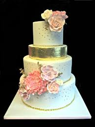 wedding cake gum with edible gold leaf and gum paste flowers s cakes