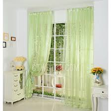 Green Color Curtains Fresh Bud Green Color Simple Modern Poly Artificial Fiber Sheer