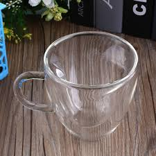 180ml heart love shaped double wall transparent glass tea cup