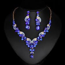 new necklace set images New fashion wedding blue dubai rhinestone jewelry set brides jpg